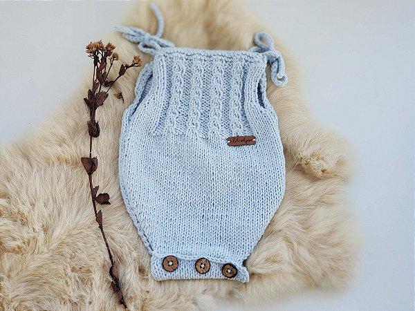 Body Tricô Azul Bebê