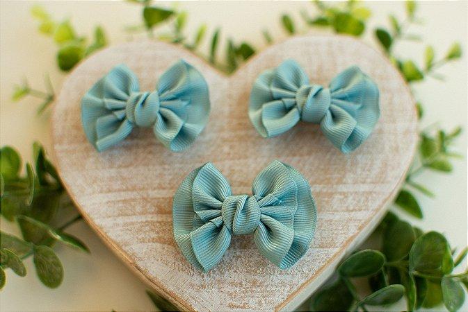 Mini Laço Franzido Azul Nilo