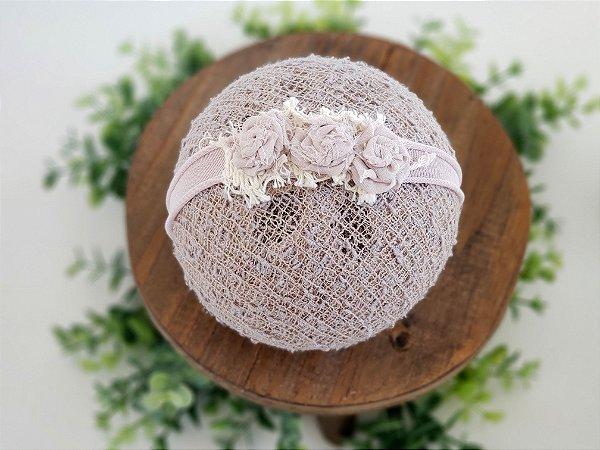 Headband Florzinhas Bege Claro