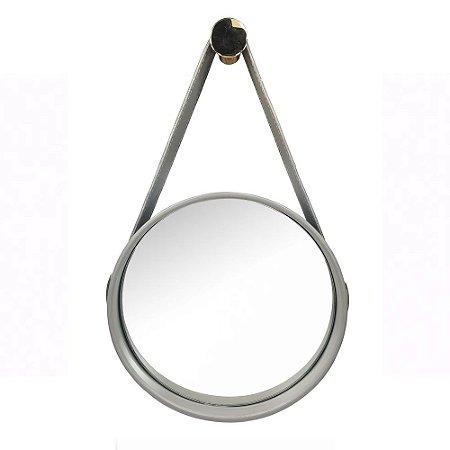 Espelho 480MM ADNET Moldura preta/Couro Preto/Fivela Cromo
