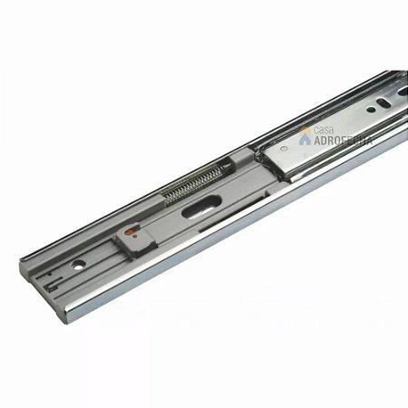 Trilho Corrediça Telescópica Larga 45mm com Fechamento Automático (Auto Close) Zincada (Par)