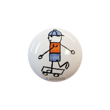 Puxador 1746 Cerâmico Menino Skate