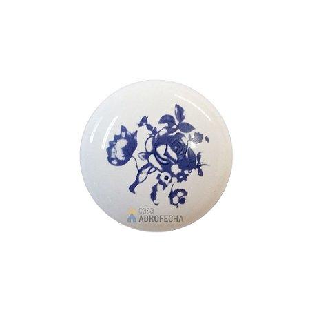 Puxador Ponto 1768 Cerâmico Floral Azul