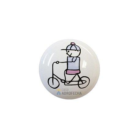 Puxador Ponto 1753 Cerâmico Menino Bicicleta