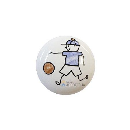 Puxador Ponto 1754 Cerâmico Menino Futebol