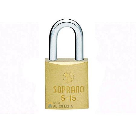 Cadeado Soprano Latão S15 15mm com Chave Simples para Mala