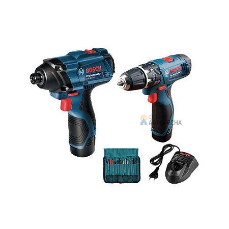 Kit Combo Parafusadeiras Bosch GSR 120-LI + GDR 120-LI 12V Bivolt + Maleta + Acessórios