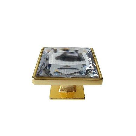 Puxador Ponto Quadrado Gardenia Cristal 35mm