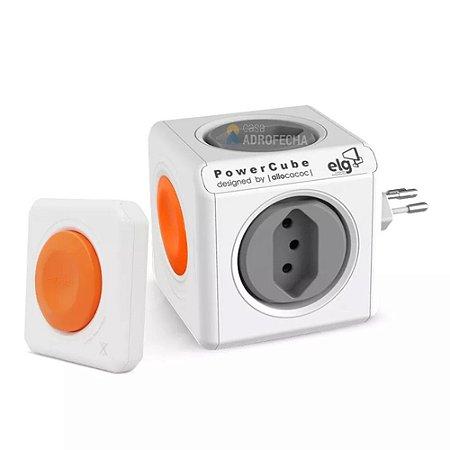 Adaptador PowerCube ELG Bivolt Laranja com Controle - 4 Tomadas