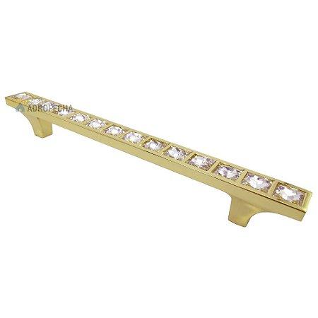 Puxador 4410 Dourado 128mm com Cristais