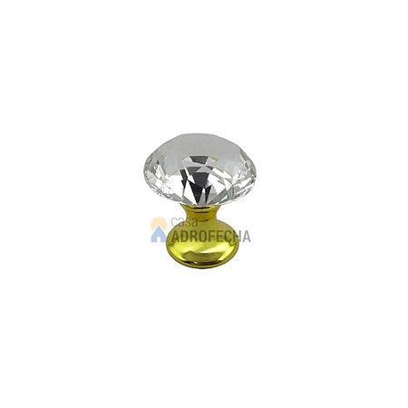 Puxador Ponto Tulipa Dourado Cristal 20mm