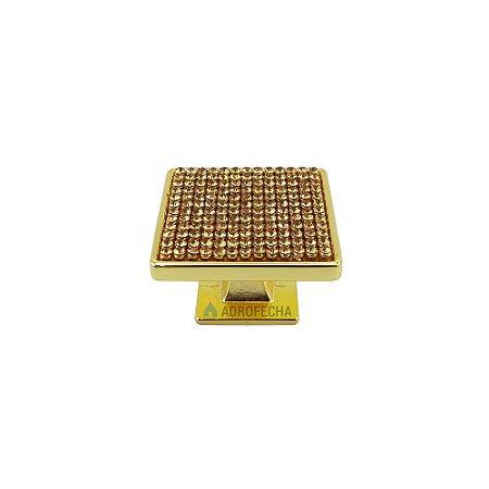 Puxador Ponto Bromélia Dourado Cristais 35mm