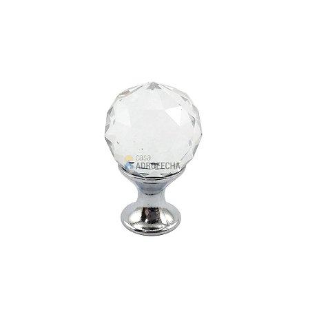 Puxador Orquídea Cromado Cristal 20mm