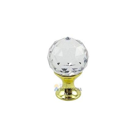 Puxador Orquídea Dourado Cristal 20mm