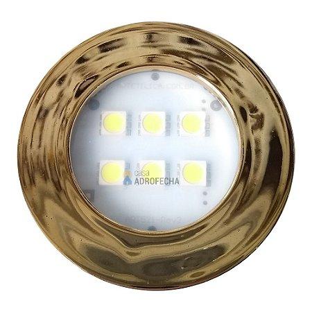 Luminária Circular Dourada com 6 Super LEDs