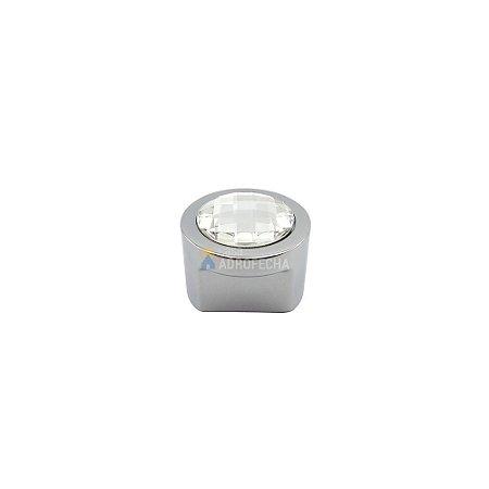 Puxador Rádio Cromado com Cristal 27mm Zen Design