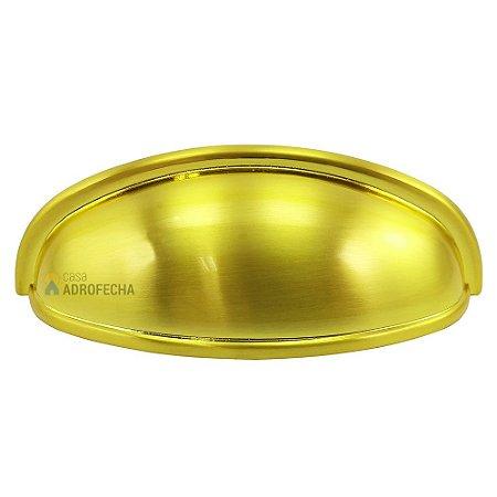 Puxador Concha Lua 64mm Dourado Escovado