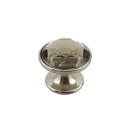 Puxador Ponto Cravo Cristal Fumê Níquel Escovado 27mm