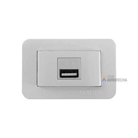 Tomada Retangular USB Charger 5V 1A 1 Porta Lumitek