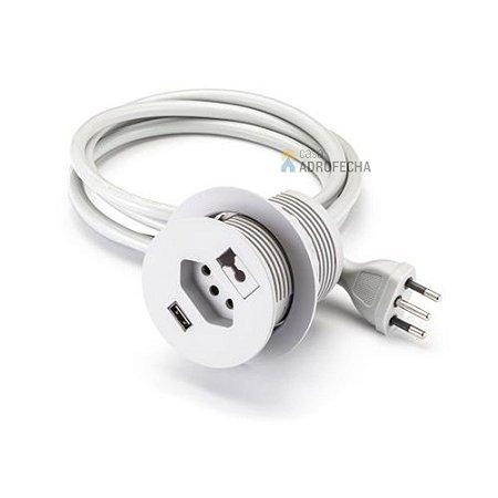 Passa Fio 3x1 Renna Tomada e USB Cinza Claro