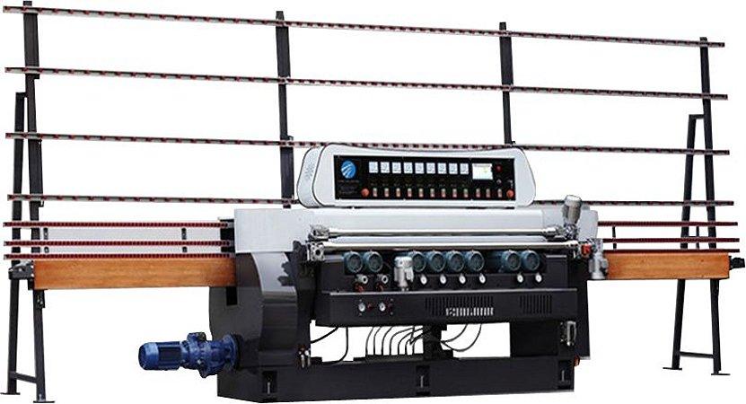 Biseladora China Glass 9 Rebolos - PLC: Siemes - Rolamentos: NSK - Elétrica: Schneider