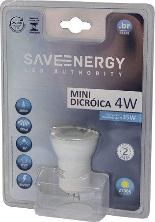 Lâmpada Mini Dicróica - GU10 - 4W - 2.700K