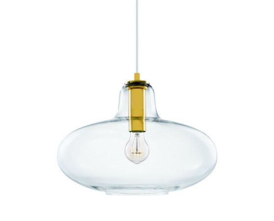 Pendente Vidro Transparente/Metal Dourado 1XBulbo MART 5678