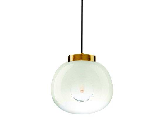 Pendente Vidro Branco e Metal Dourado Ø28,5 1XE27 MART 7360