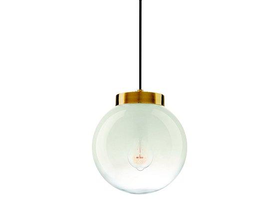 Pendente Vidro Branco e Metal Dourado Ø24 1XE27 MART 7362