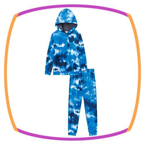 Conjunto infantil blusão e calça jogger em molecotton tie dye azul