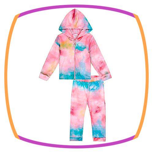 Conjunto Infantil em moleton com estampa tie dye