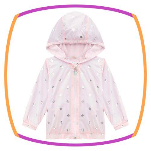 Jaqueta infantil corta vento em nylon e tela  rosa