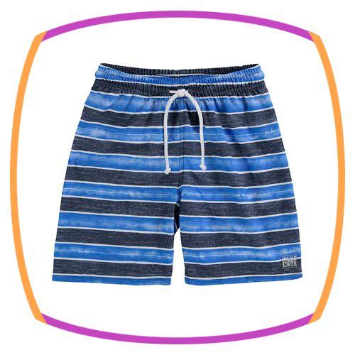 Bermuda infantil em nylon e listras nas cores azul e preto