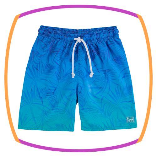 Bermuda infantil em nylon com elastano estampa folhas nas cor azul