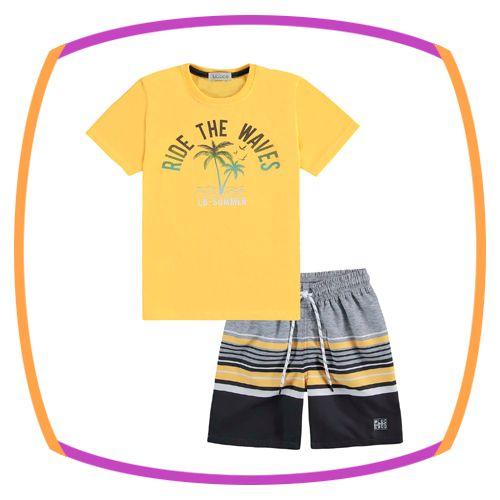 Conjunto infantil de camiseta RIDE THE WAVES e bermuda em nylon listras