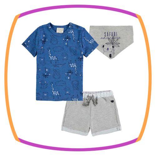 Conjunto para bebê body camiseta estampa safari, bermuda em moleton e lenço estampa coala safari
