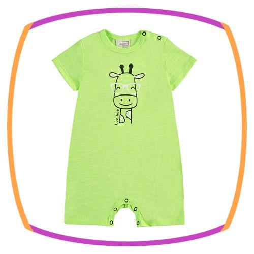 Macacão para bebê em malha na cor amarela estampa girafa