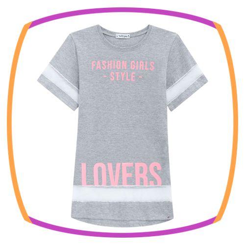 Vestido infantil estampa LOVERS com detalhes