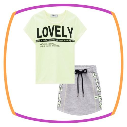 Conjunto infantil blusa Boxy LOVELY e shorts saia em moleton