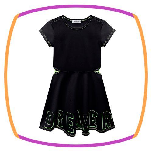 Vestido infantil em malha Crepe estampa DREAMER