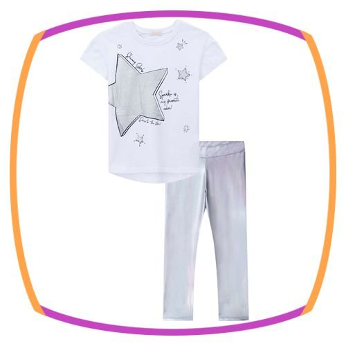 Conjunto infantil de blusa em meia malha na cor branca estampa ESTRELA e legging em cirre holográfico na cor cinza