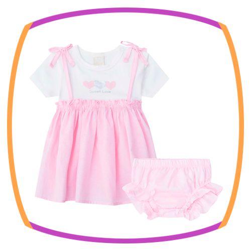 Vestido para bebê, bata em cotton e tricoline  e calcinha em tricoline