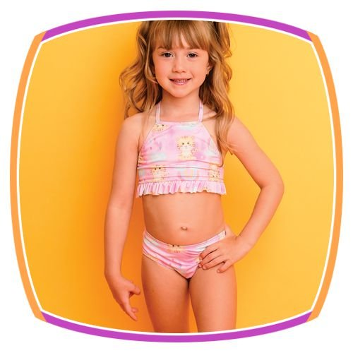 Biquini infantil estampa Tigre com proteção UV