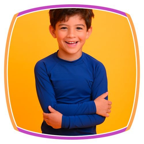 Blusa infantil para praia ou piscina manga longa com proteção UV Lisa na cor Marinho