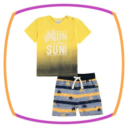 Conjunto para bebê body camiseta SUN SUN e bermuda em nylon