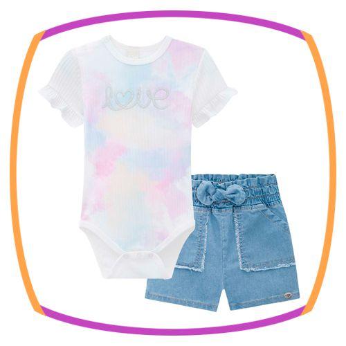 Conjunto para bebê  body em malha canelada  tiedye e shorts jeans