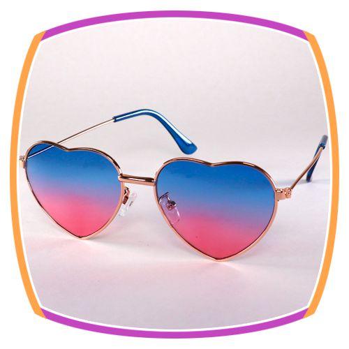 Óculos de coração - lente degrade azul e rosa