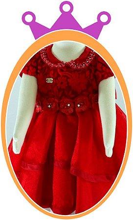 Vestido infantil Bordado com Renda e Cetim e Laço em Flor