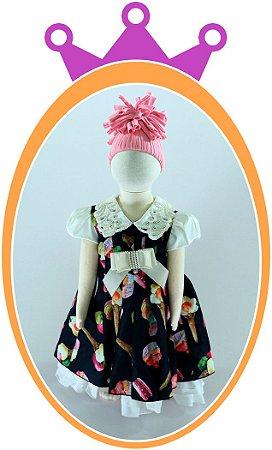 Vestido Estampa Cup Cake com Aplique em Pérolas