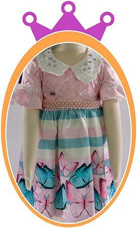 Vestido infantil Estampa Borboletas Rosa e Azul com Pérolas Bordadas